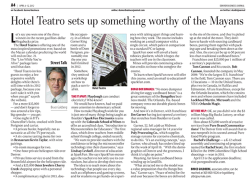 Denver Business Journal, April 2012 {Hotel Teatro}